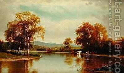 Cattle by a Stream by Clinton Loveridge - Reproduction Oil Painting