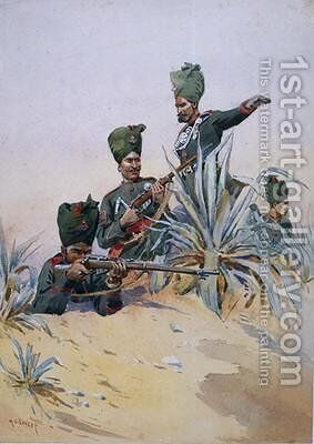 Soldiers of the 125th Napiers Rifles by Alfred Crowdy Lovett - Reproduction Oil Painting