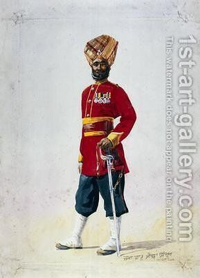 Soldier of the 35th Sikhs Subadar by Alfred Crowdy Lovett - Reproduction Oil Painting