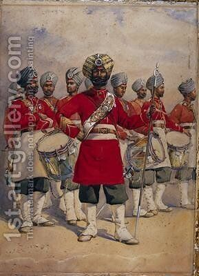 Soldiers of the 45th Rattrays Sikhs the Drums Jat Sikhs by Alfred Crowdy Lovett - Reproduction Oil Painting