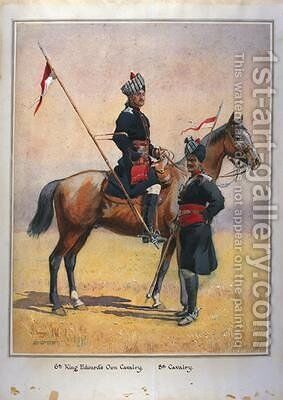 Soldiers of the 6th Edwards Own Cavalry and the 8th Cavalry by Alfred Crowdy Lovett - Reproduction Oil Painting