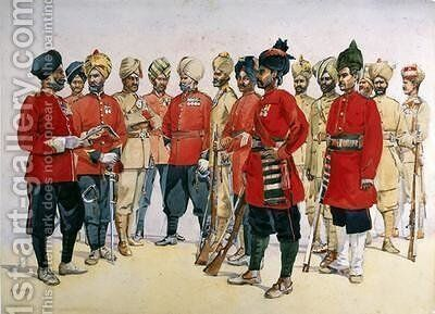 VCOs NCOs and sepoys of various Punjab Regiments by Alfred Crowdy Lovett - Reproduction Oil Painting