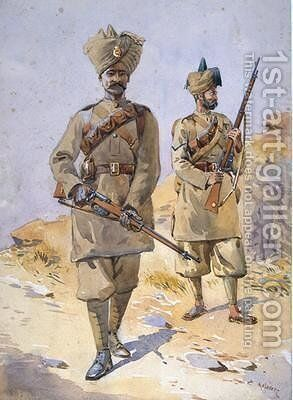 Soldiers of the 30th Punjabis Awan and the 20th Duke of Cambridges Own Infantry by Alfred Crowdy Lovett - Reproduction Oil Painting