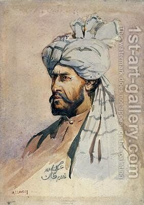 Soldier of the Kurram Militia out of uniform by Alfred Crowdy Lovett - Reproduction Oil Painting