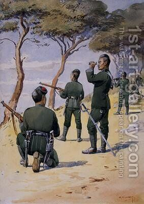 Soldiers of the 6th Gurkha Rifles by Alfred Crowdy Lovett - Reproduction Oil Painting
