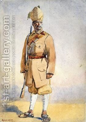 Soldier of the Khyber Rifles by Alfred Crowdy Lovett - Reproduction Oil Painting