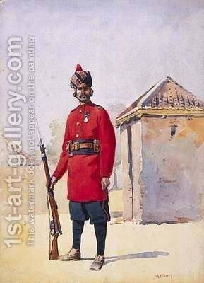 Soldier of the 22nd Punjabis Awan of Shahpur by Alfred Crowdy Lovett - Reproduction Oil Painting