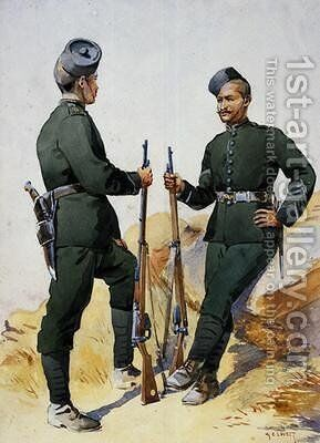 Soldiers of the 39th Garwhal Rifles Garwhalis by Alfred Crowdy Lovett - Reproduction Oil Painting