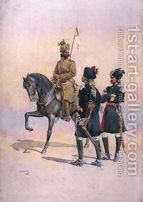 Soldier of the 37th Lancers Baluch Horse Baluch the 36th Jacobs Horse Pathan and the 35th Scinde Horse Kot Daffadar Baluch by Alfred Crowdy Lovett - Reproduction Oil Painting