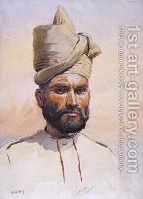 Soldier of the 26th Punjabis Malikdin Khel Afridi by Alfred Crowdy Lovett - Reproduction Oil Painting