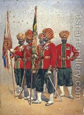 Soldiers of the 15th Ludhiana Sikhs by Alfred Crowdy Lovett - Reproduction Oil Painting