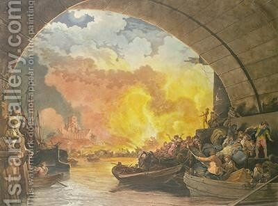 The Great Fire of London by (after) Loutherbourg, Philippe de - Reproduction Oil Painting