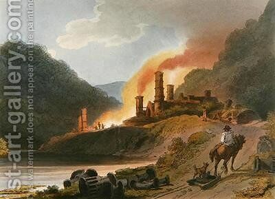 Iron Works Coalbrook Dale by (after) Loutherbourg, Philippe de - Reproduction Oil Painting