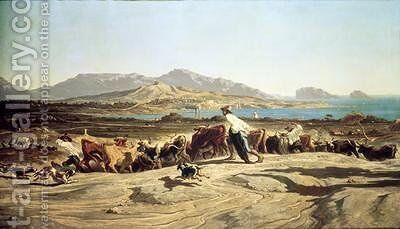 Cattle herding near Marseilles 1853 by Emile Loubon - Reproduction Oil Painting