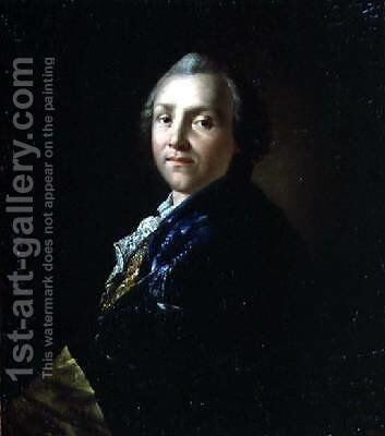 Portrait of Aleksandr Petrovich Sumarokov 1718-77 1760 by Anton Losenko - Reproduction Oil Painting