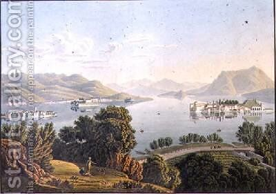 View of Lake Maggiore and the Borromean Islands by Mathias Gabriel Lory - Reproduction Oil Painting