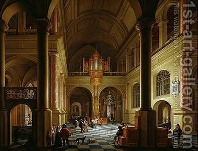 The Interior of a Protestant Church at Night by Anthonie De Lorme - Reproduction Oil Painting