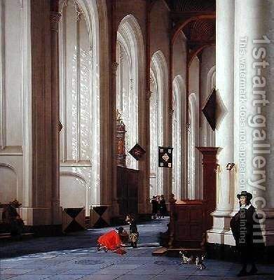 Interior of the Grote Kerk in Rotterdam 1656 by Anthonie De Lorme - Reproduction Oil Painting