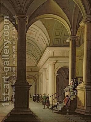 Palatial interior at night with an elegant couple making their entrance by Anthonie De Lorme - Reproduction Oil Painting
