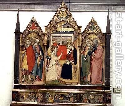 Annunciation with Saints 1414 by Bicci Di Lorenzo - Reproduction Oil Painting