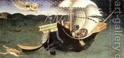 St Nicholas rebuking the Tempest by Bicci Di Lorenzo - Reproduction Oil Painting