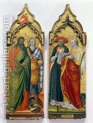 St Andrew St Michael St Jerome and St Lawrence by Bicci Di Lorenzo - Reproduction Oil Painting