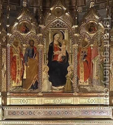 Madonna and Child with Saints by Bicci Di Lorenzo - Reproduction Oil Painting