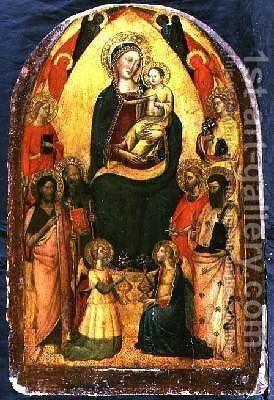Madonna and Child Enthroned with Saints by Bicci Di Lorenzo - Reproduction Oil Painting