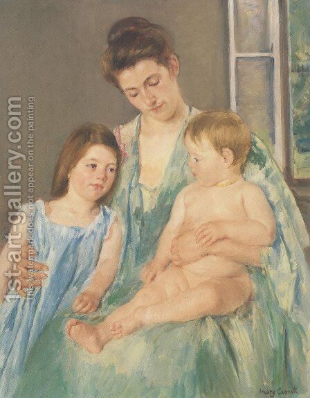 Young Mother And Two Children 1908 by Mary Cassatt - Reproduction Oil Painting