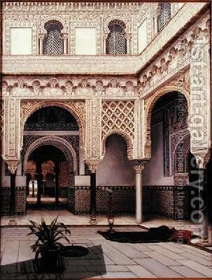 A Moorish Courtyard 1891 by T. Alceves Loredo - Reproduction Oil Painting