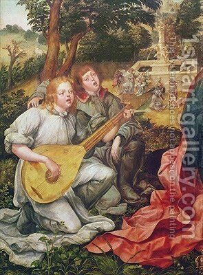 Virgin and Child with Angels detail of Angel Musicians 1536-38 by Gregorio Lopez - Reproduction Oil Painting