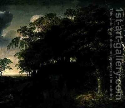 Forest Landscape with Hunters 1651 by Jan Looten - Reproduction Oil Painting