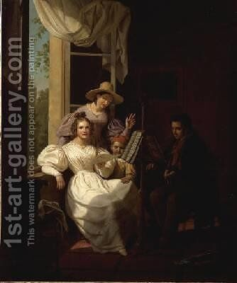 A Musical Party in an Interior by Basile De Loose - Reproduction Oil Painting
