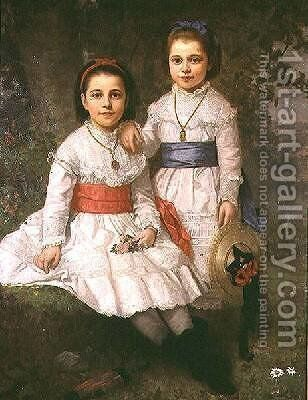 Fanny Fredericka Dyckman and Mary Alice Dyckman by Henry Augustus Loop - Reproduction Oil Painting