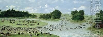 Crossing of the San Joaquin River Paraguay 1865 by Candido Lopez - Reproduction Oil Painting