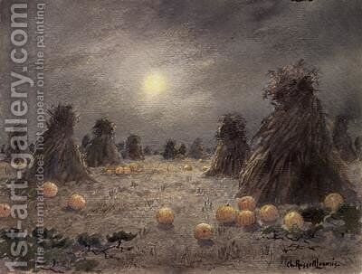 Autumn Harvest by Moonlight by Charles Russell Loomis - Reproduction Oil Painting