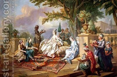 The Sultana Served by her Eunuchs 2 by Charles-Amedee-Philippe van Loo - Reproduction Oil Painting