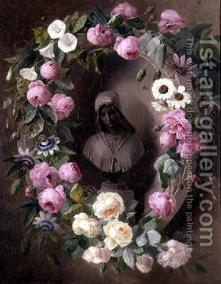 Garland with Roses and Passion Flowers Around a Bust of a Saint by Henrietta de Longchamp - Reproduction Oil Painting