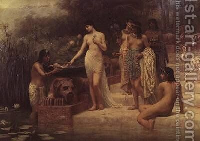 Pharaohs Daughter - The Finding of Moses 1886 by Edwin Longsden Long - Reproduction Oil Painting