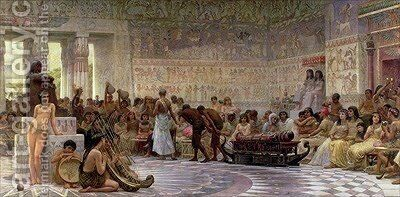 An Egyptian Feast 1877 by Edwin Longsden Long - Reproduction Oil Painting