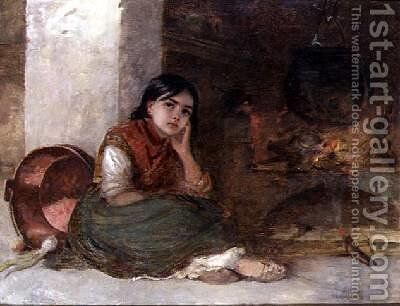Girl by a Fireside 1862 by Edwin Longsden Long - Reproduction Oil Painting