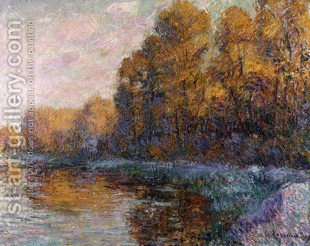 A River in Autumn 1909 by Gustave Loiseau - Reproduction Oil Painting