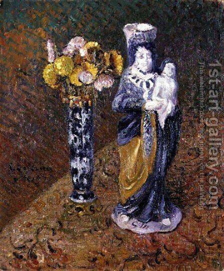 Flowers and a Statuette 1910 by Gustave Loiseau - Reproduction Oil Painting
