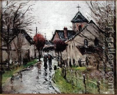 A Small Village under the Rain by Gustave Loiseau - Reproduction Oil Painting