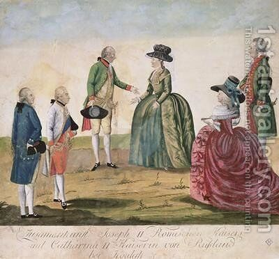 Meeting between Joseph II of Germany 1741-90 and Empress Catherine the Great 1729-96 at Koidak 18th May 1787 by Johann Hieronymus Loeschenkohl - Reproduction Oil Painting