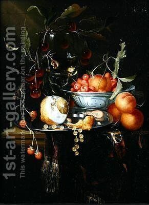 Still life of a peeled lemon with prawns and whitecurrants on a pewter dish by Harmen Loeding - Reproduction Oil Painting