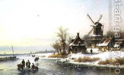 Winter Landscape with a Windmill by J. Kleyn Lodewyk - Reproduction Oil Painting