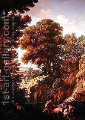 A Landscape with Shepherds 1730 by Andrea Locatelli - Reproduction Oil Painting