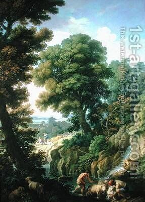 A Landscape in Latium with Shepherds by Andrea Locatelli - Reproduction Oil Painting