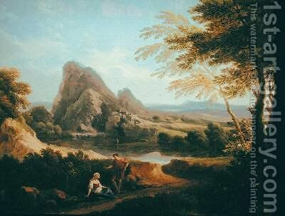 Landscape with a Distant Waterfall by Andrea Locatelli - Reproduction Oil Painting